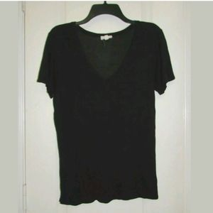 M AG by Adriano Goldschmied Black V-Neck Tee